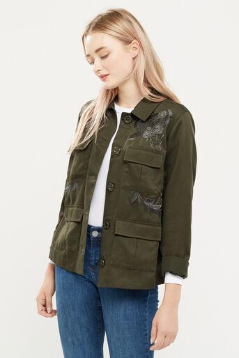 Oasis, Blossom emb utility jacket Khaki 1