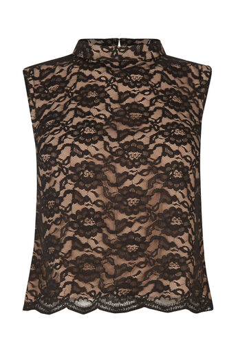Oasis, Lace Frill Top Black 0