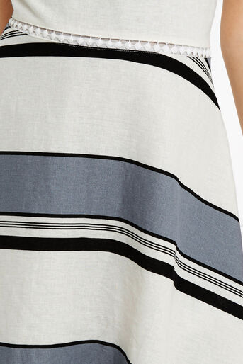 Oasis, Stripe Linen Skater Dress Multi 4