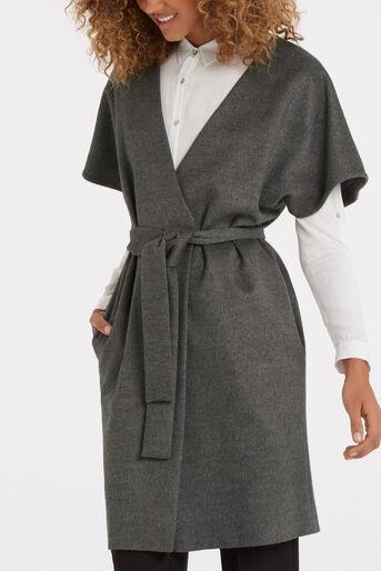 Oasis, Lexi Short Sleeved Coat Mid Grey 4