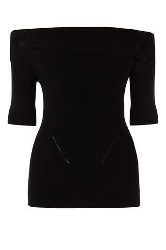 Oasis, Bardot Knit Top Black 0