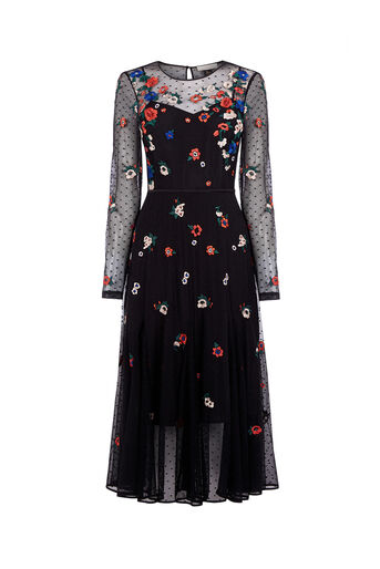 Oasis, WARNER EMBROIDERED MIDI DRESS Multi 0