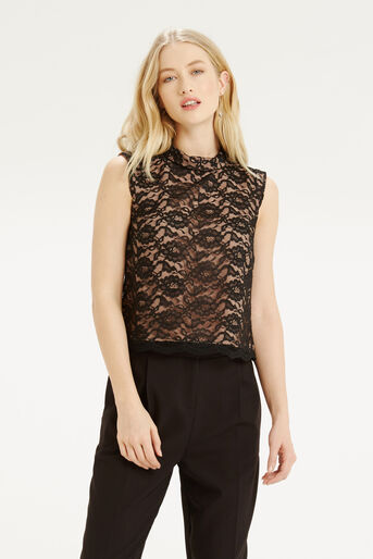 Oasis, Lace Frill Top Black 1