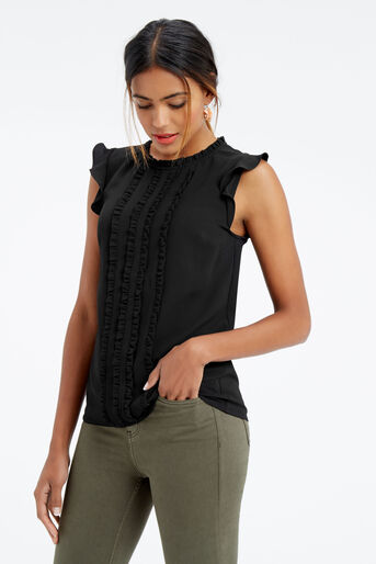 Oasis, FRILL DETAIL TOP Black 1