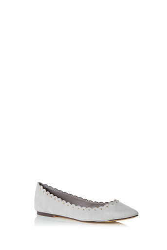 Oasis, KATE SCALLOPED FLATS Mid Grey 0