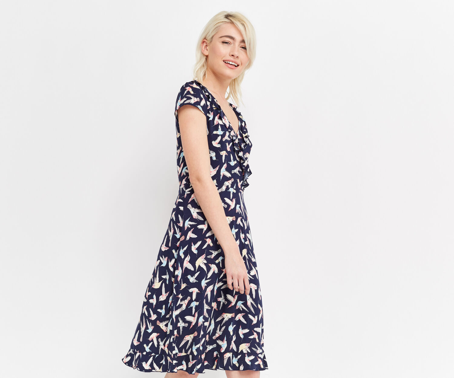 Oasis, LONG HUMMINGBIRD TEA DRESS Navy 1