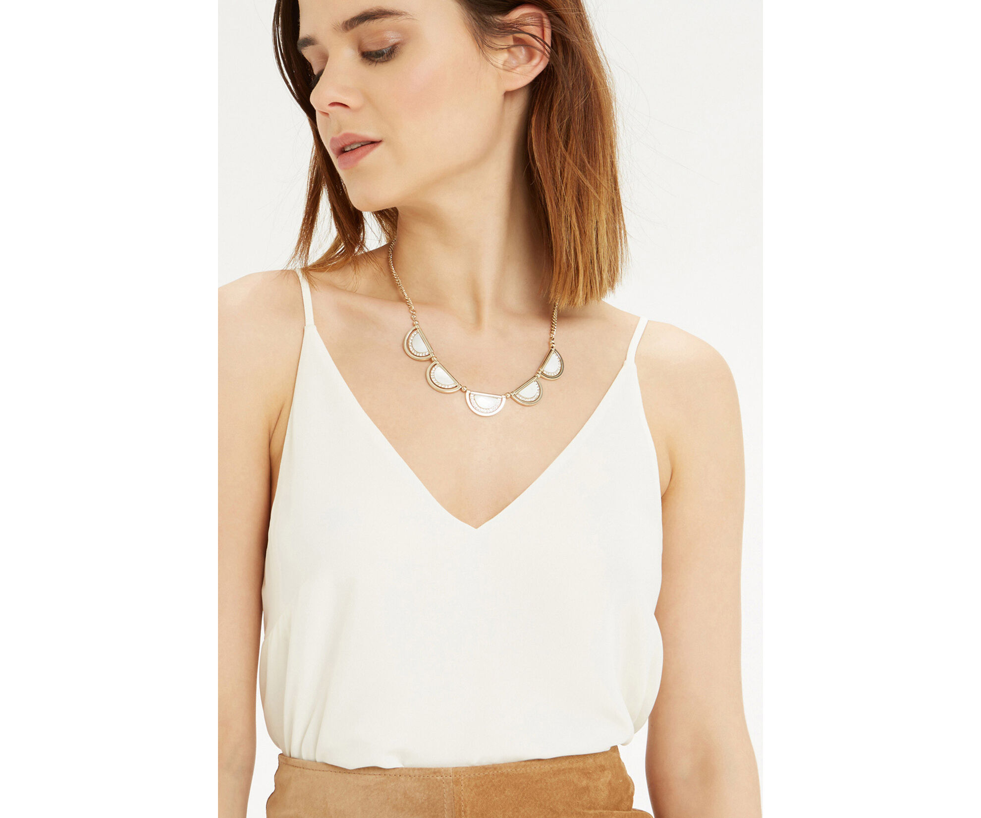 Oasis, SHELL AND SPARKLE NECKLACE Cream 1