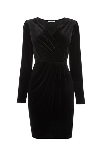 Oasis, VELVET ROMANA WRAP DRESS Black 0
