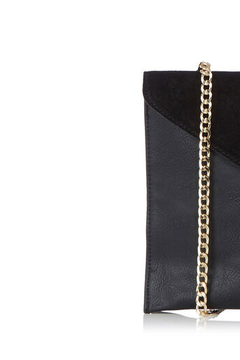 Oasis, Charlie Suede Patched Clutch Black 2