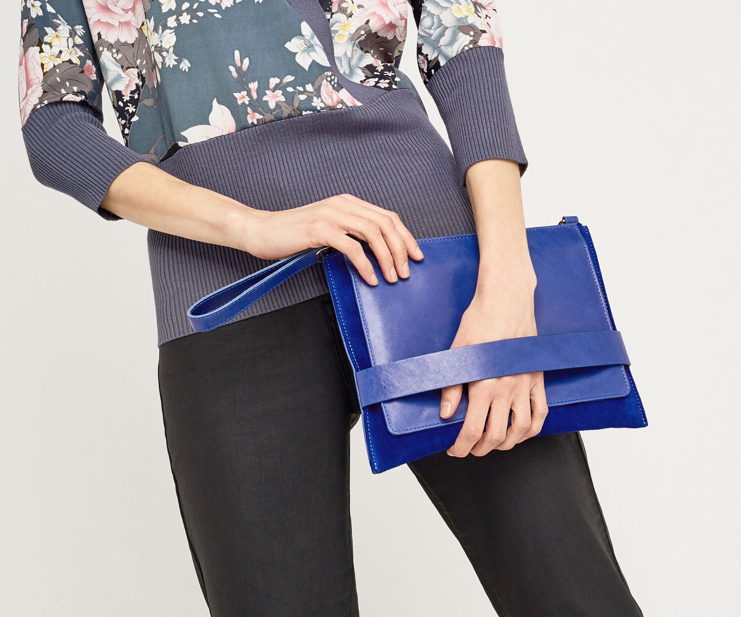 Oasis, Leather Cross-Body Clutch Cobalt Blue 1