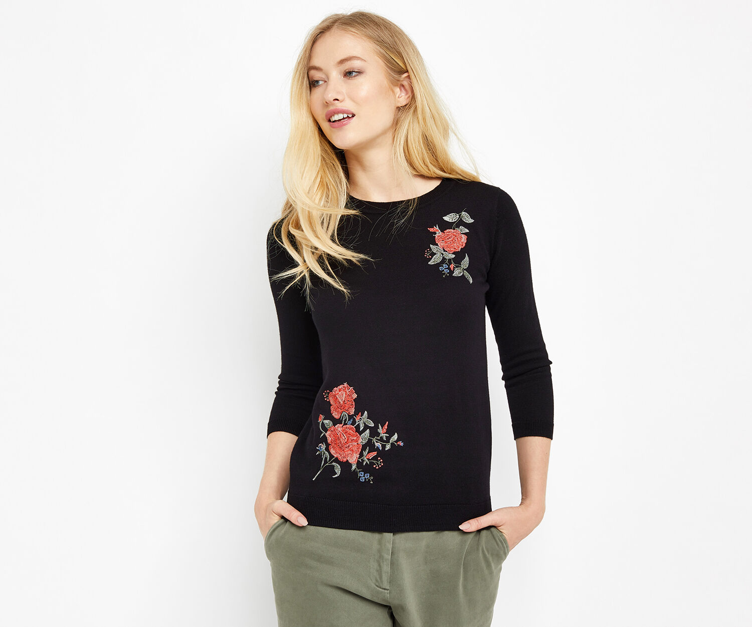 Oasis, UTILITY BLOOM EMBROIDERED JUMP Black 1