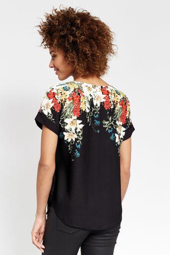 Oasis, T-shirt bouquet d'hiver Noir multicolore 3