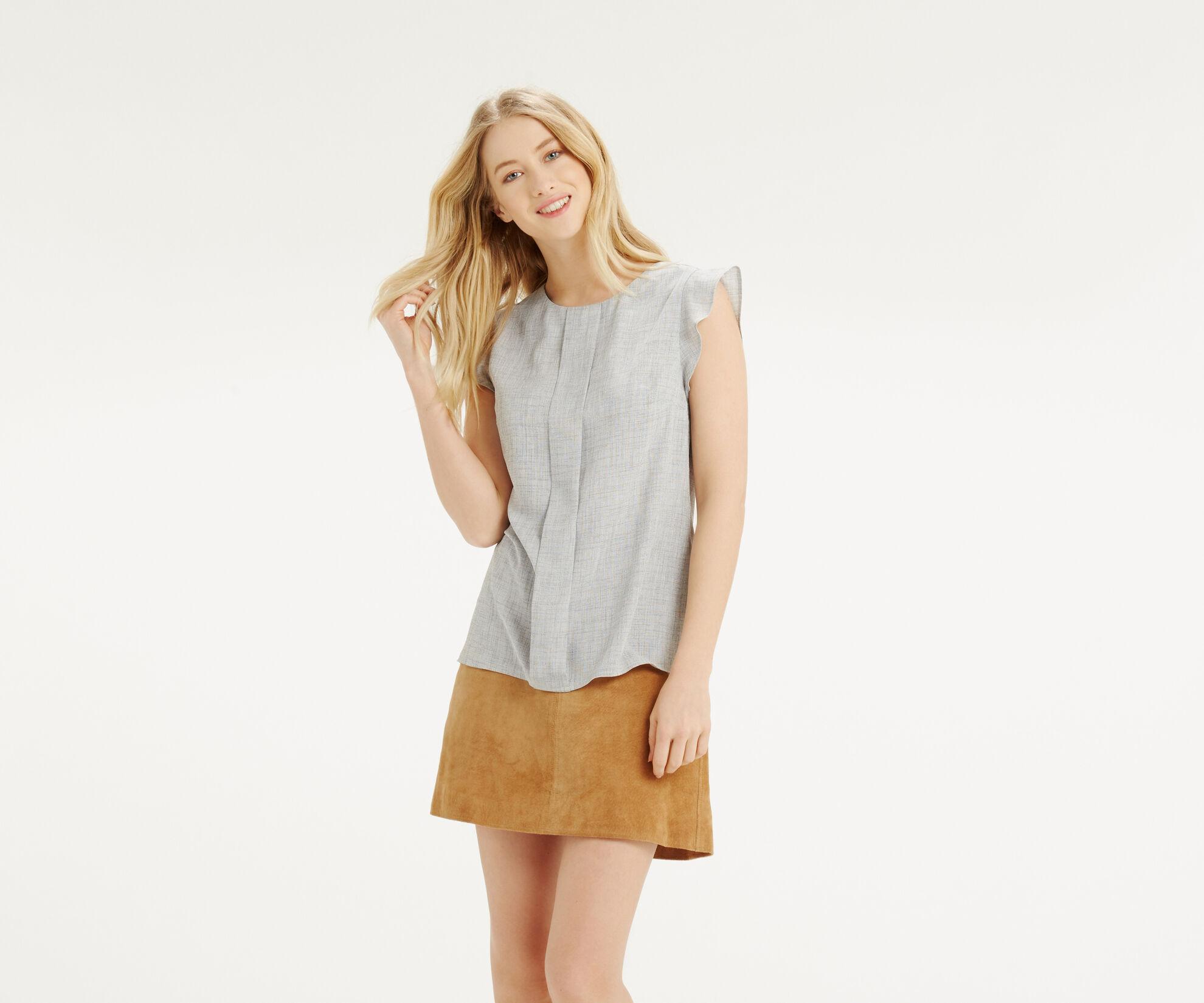 Oasis, Linen Look Top Mid Grey 1