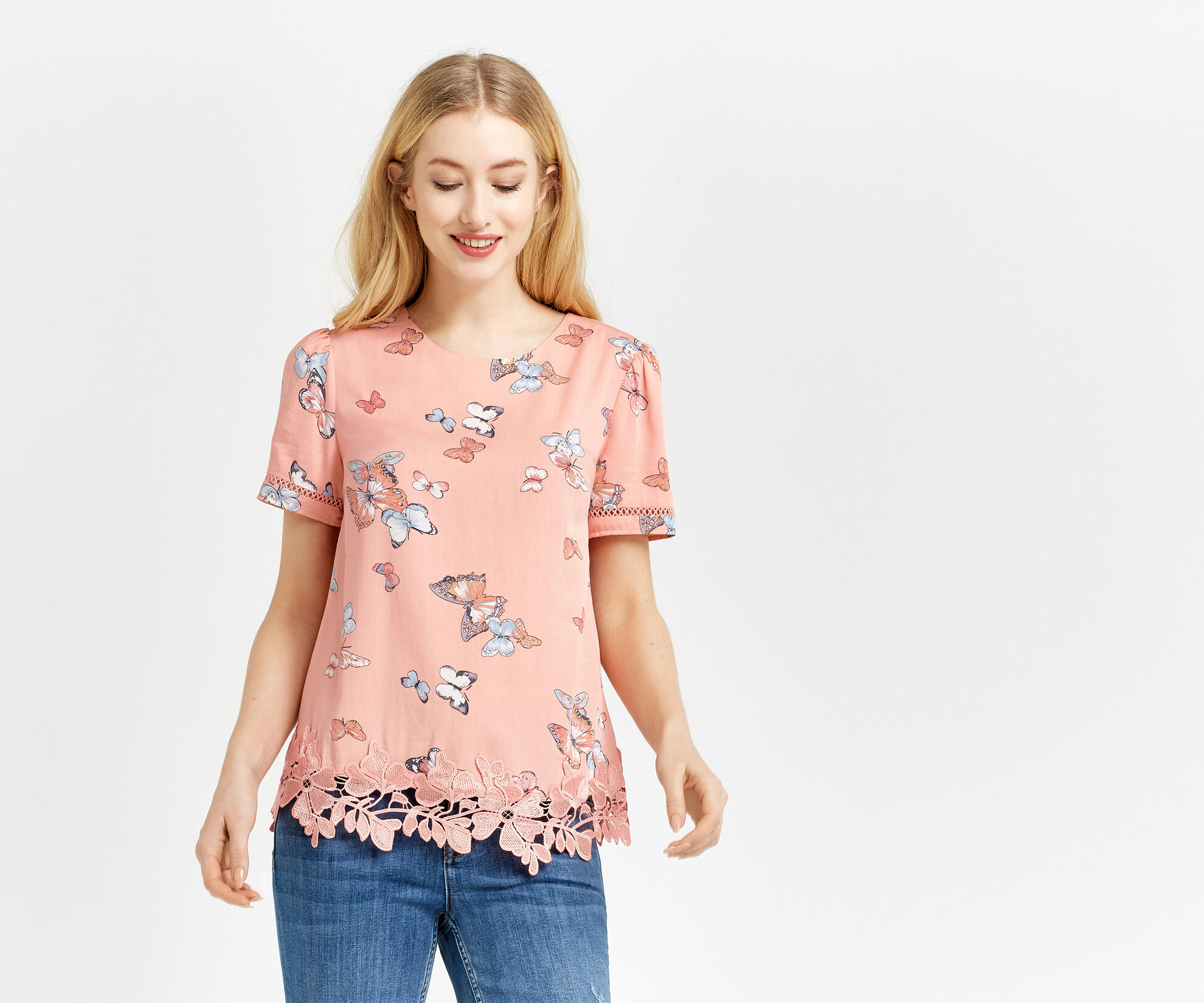 Oasis, BUTTERFLY PRINT T-SHIRT Multi 1
