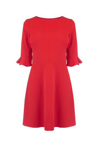 Oasis, FLUTE SLEEVE DRESS Mid Red 0