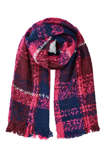 Oasis, BOUCLE CHECK SCARF Multi Pink 0