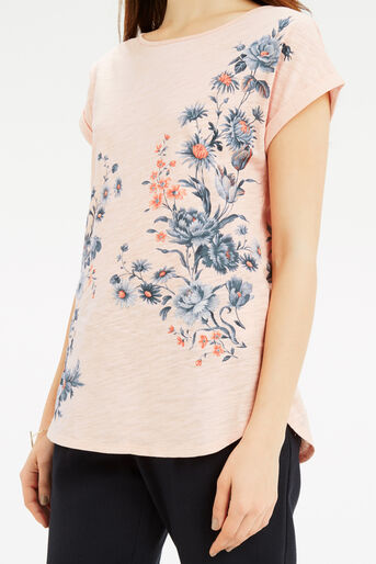 Oasis, Tonal Rose Placement T-Shirt Pale Pink 4