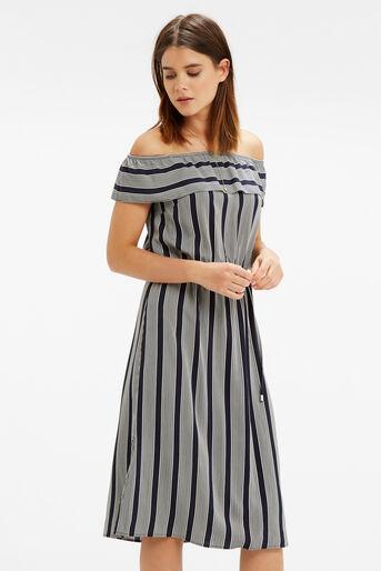 Oasis, Viscose Stripe Ruffle Dress Multi 1