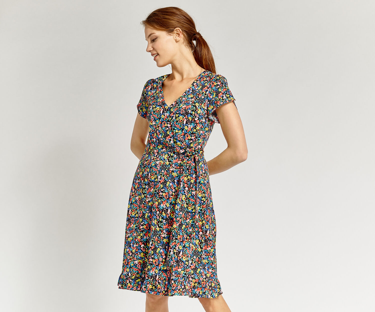 Oasis, LONG DITSY SKATER DRESS Multi 1