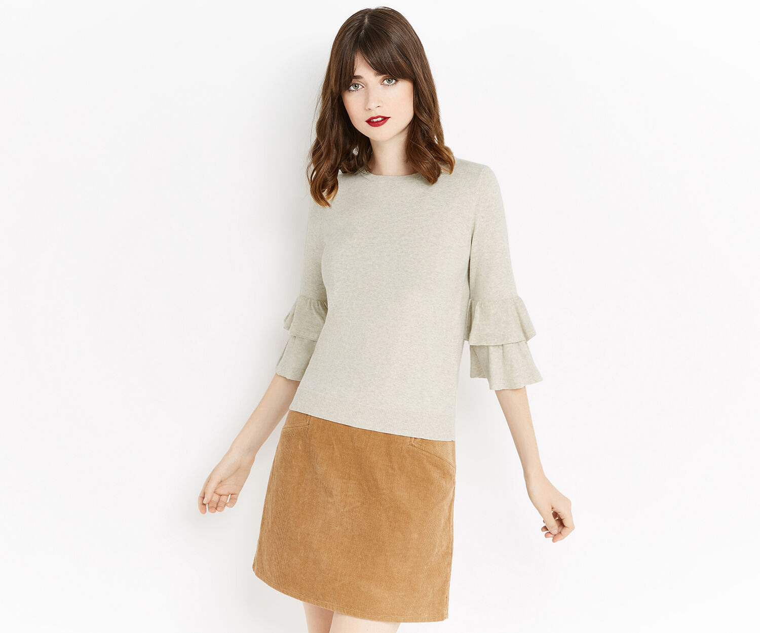 Oasis, DOUBLE FRILL SLEEVE KNIT Light Neutral 1