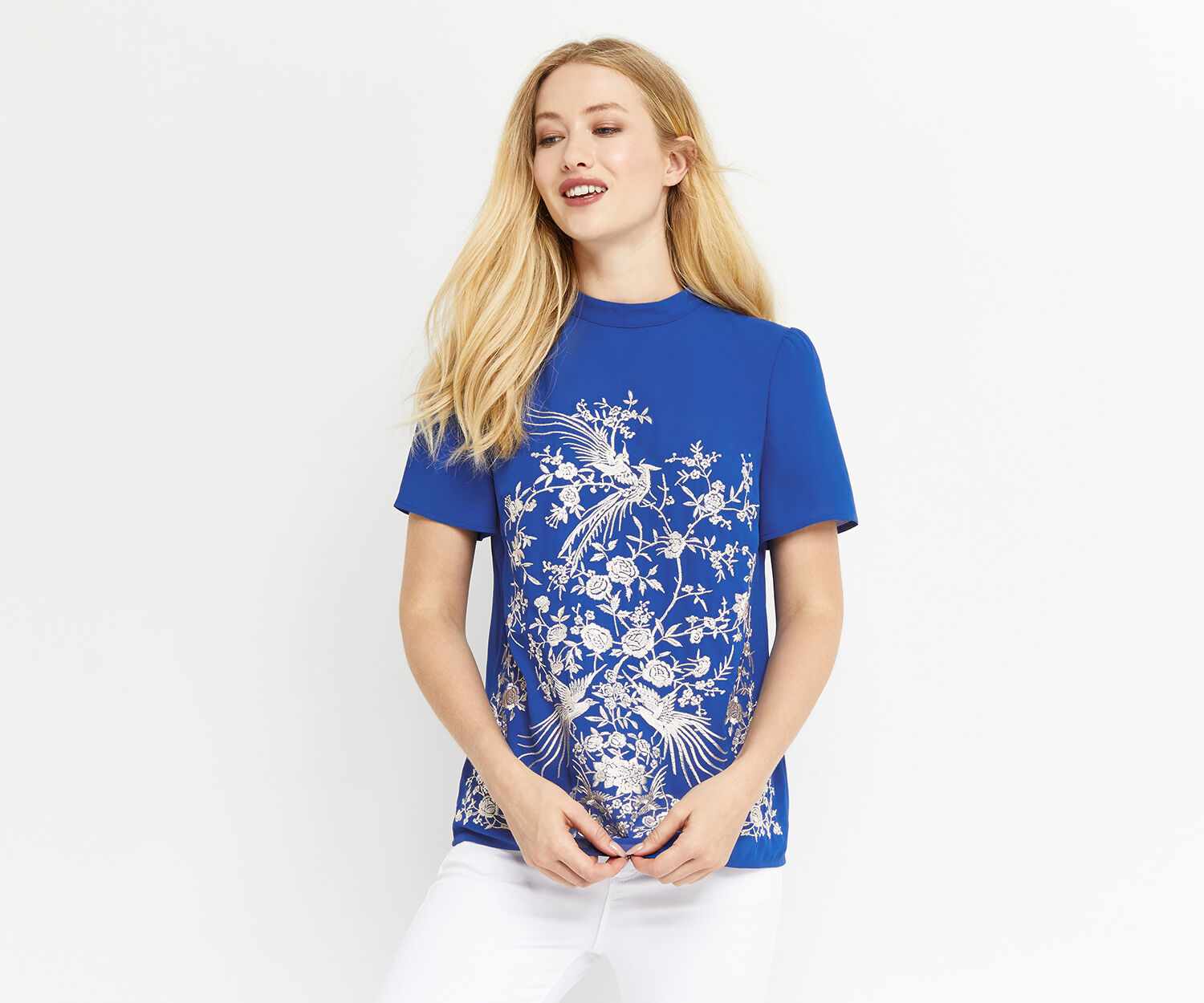 Oasis, OSAKA EMBROIDERED TOP Cobalt Blue 1
