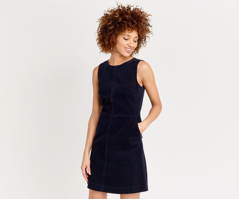 Oasis, ELISA CORD SHIFT DRESS Navy 1