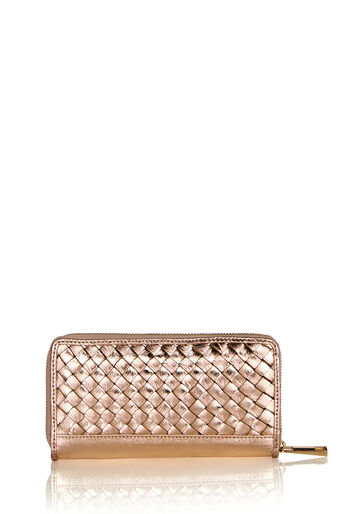 Oasis, LEATHER ZOE WEAVE ZIP PURSE Pale Pink 0