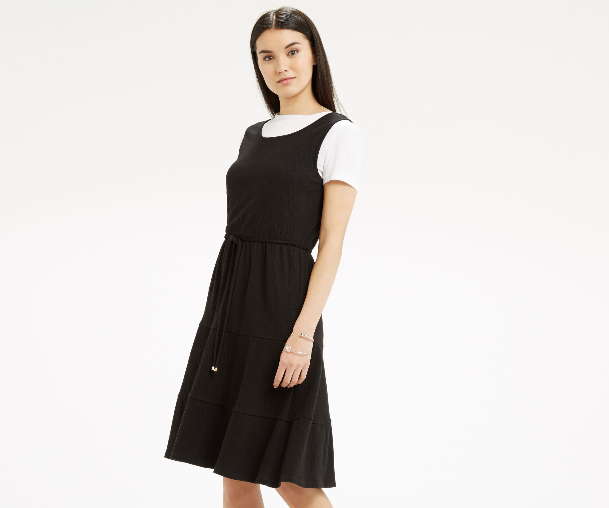 Oasis, Cheesecloth Tiered Dress Black 1