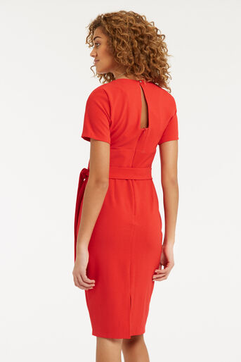 Oasis, Wiggle Belted Dress Mid Red 3