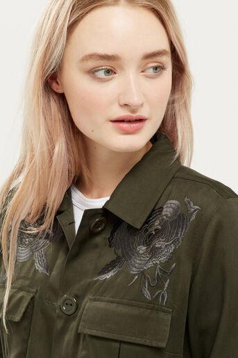 Oasis, Blossom emb utility jacket Khaki 4