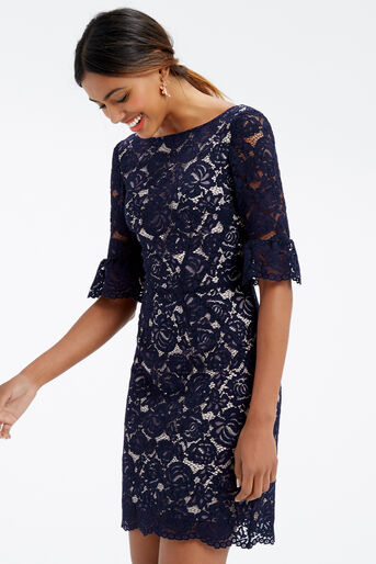 Oasis, LACE BELL SLEEVE SHIFT Navy 1