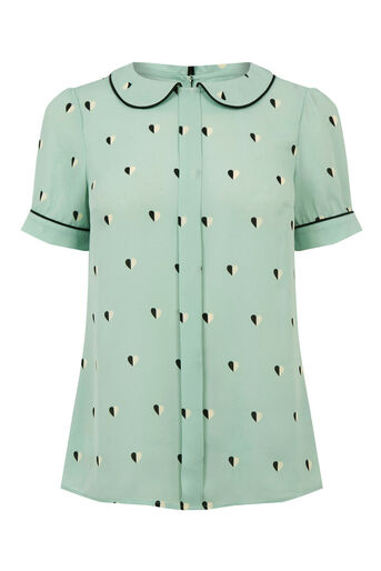 Oasis, HEART PRINT COLLAR TOP Teal Green 0