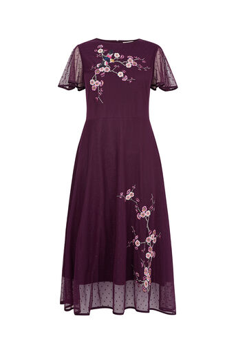 Oasis, EMBROIDERED MESH MIDI DRESS Dark Purple 0