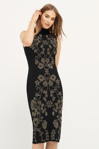 Oasis, WARNER SPARKLE KNIT DRESS Black 1
