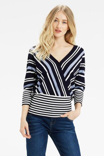 Oasis, Briony Stripe Knit Multi Blue 1