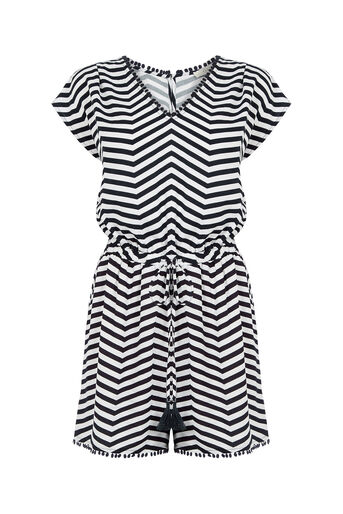 Oasis, Stripe Playsuit Black and White 0