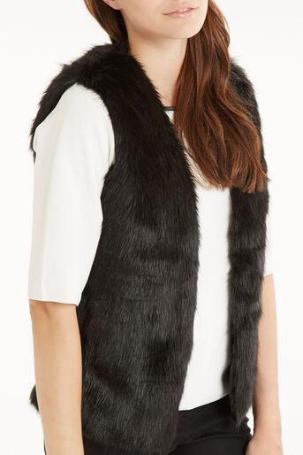 Oasis, Short Glam Fur Gillet Black 4