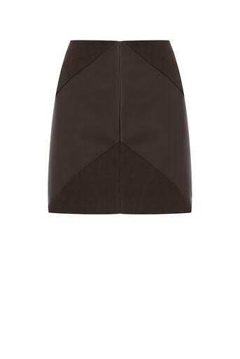 Oasis, Mini jupe en simili cuir à chevrons Marron foncé 0