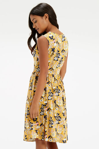 Oasis, Edie Floral Skater - Longer Le Multi Yellow 3