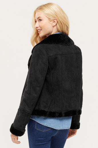 Oasis, FAUX SHEARLING JACKET Black 3