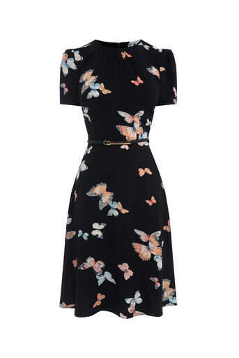 Oasis, LONG BUTTERFLY SKATER DRESS Multi Black 0