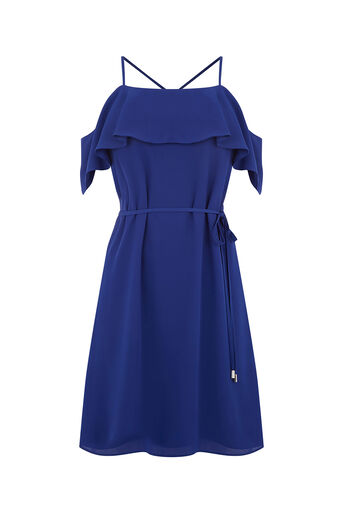 Oasis, STRAPPY BARDOT DRESS Rich Blue 0