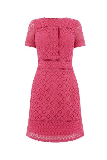 Oasis, ISLA LACE SHIFT DRESS Deep Pink 0