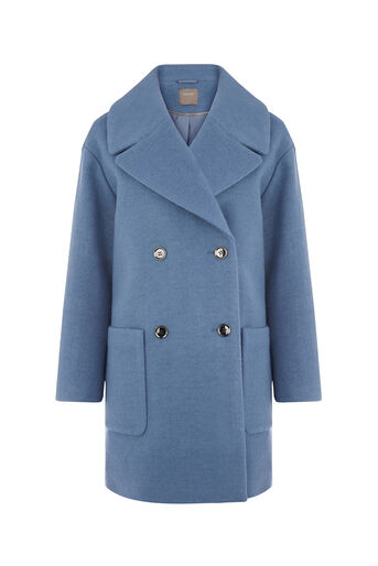 Oasis, DOUBLE BREASTED RELAXED COAT Mid Blue 0