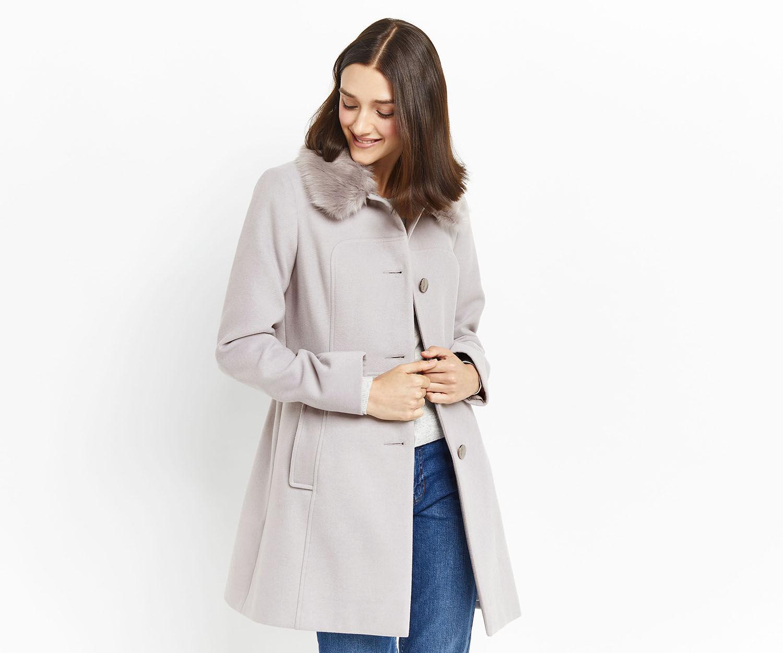 Oasis, OLIVIA PRINCESS COAT Mid Grey 1