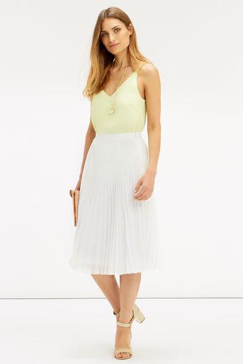 Oasis, Pleated Midi Skirt Off White 2