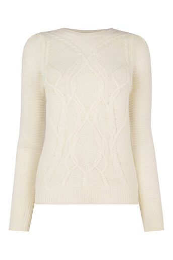 Oasis, Cute Cable Knit Off White 0