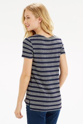 Oasis, Textured Wiggle Stripe T-Shirt Navy 3