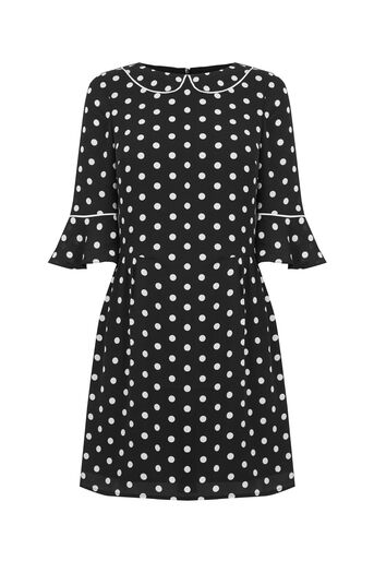 Oasis, SPOT FLUTE SLEEVE DRESS Black and White 0