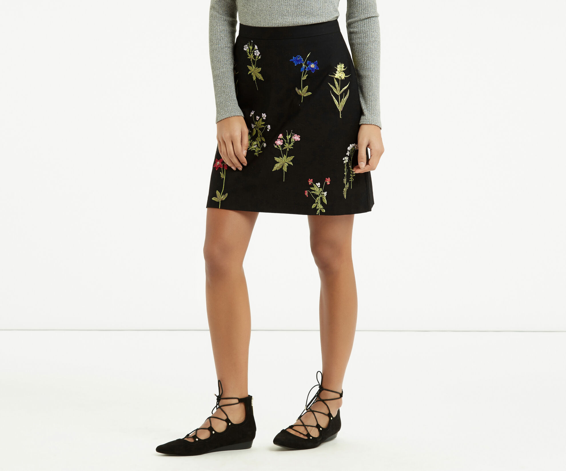 Oasis, Embroidered A-Line Skirt Multi 1